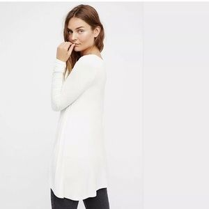 NWT Free People Ivory January Ribbed Long Slv Top
